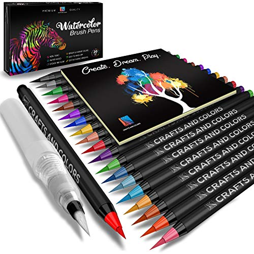 Watercolor Brush Pens Set of 21 - 20 Vibrant Markers with Bonus 1 Refillable Water Brush Pen, Paper Pad and Carry Case - Non-Toxic Safe & Fun Watercolors in Gift ()