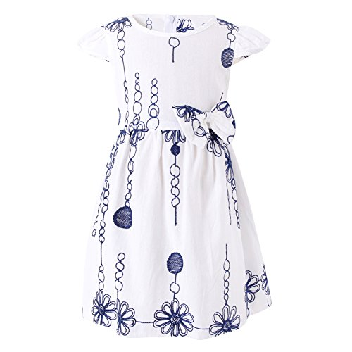 - SMILING PINKER Baby Toddler Girls Flower Dress Bow Cotton Casual Flare Dresses (White 1, 2-3t)