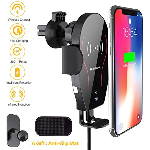 ARCBLD Wireless Charger Car Mount, 10W Qi Certified Power Fast Charge Air Vent Phone Holder, Auto Clamping Adjustable Gravity Car Mount Compatible with iPhone Xs Max/XR/XS/X/8/8 Plus, Galaxy Note ()