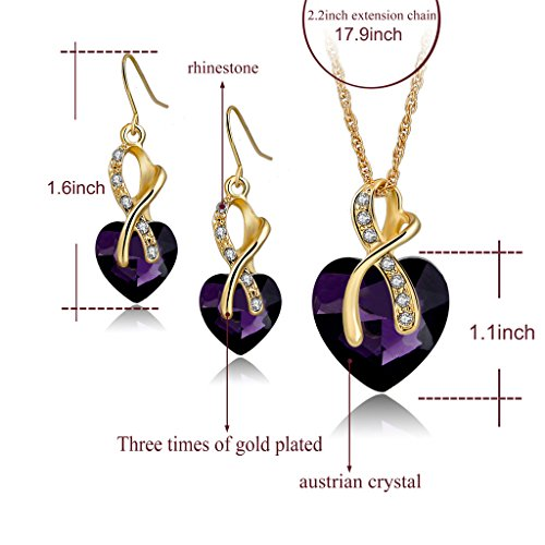 Long Way® Austrian Crystal Fashion Heart Jewelry Sets Necklace Earrings Wedding Party Accessories ...