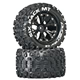 "Duratrax Six Pack MT 2.8"" RC Monster Truck Tires with Foam Inserts, C2 Soft Compound, Mounted on Rear Black Wheels (Set of 2)"