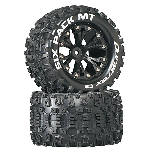 "Duratrax Six Pack MT 2.8"" 1/10 RC Monster Truck Tires with Foam Inserts: C2 Soft, Mounted, 6-Spoke Rear Wheels, Black, Set of 2"