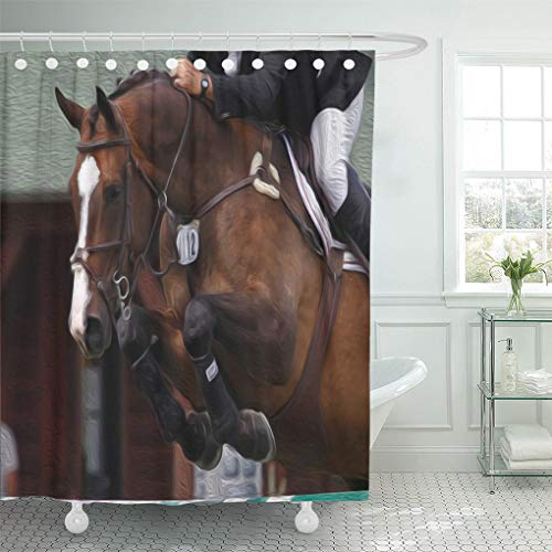 Grand Prix Jumper - Semtomn Shower Curtain Equestrian Horse Show Jumping Grand Prix Jumper Sports Photograph 66