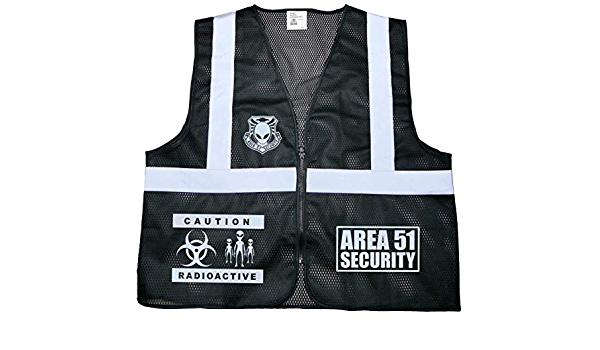Reflective Design Area 51 Black Security Vest Extraterrestrial Alien UFO