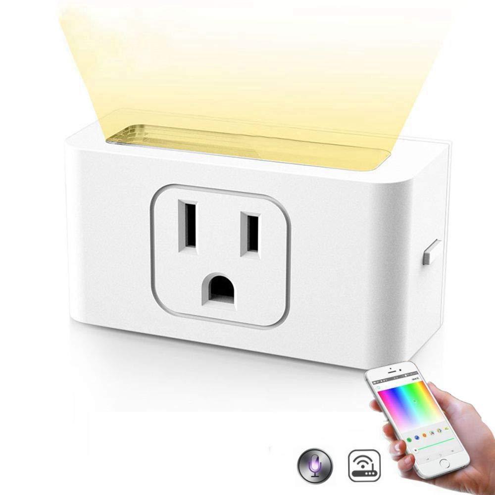 Wuchance Enchufe Inteligente de los EE. UU. Enchufe de EE. EE. de UU. con luz LED de Noche Regulable APLICACIÓN inalámbrica Inalámbrico Control Remoto Luz Blanca 05e14d