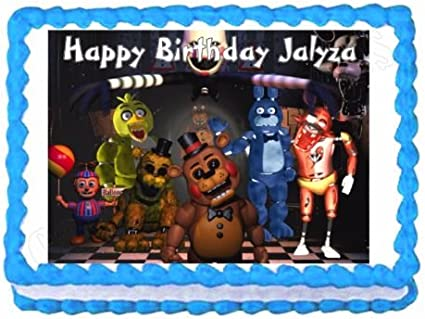 Five Nights FNAF Edible Birthday Cake Image Topper 1//4 Sheet Icing Frosting