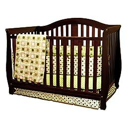Athena AFG Desiree 4-in-1 Convertible Crib with Guardrail, Espresso