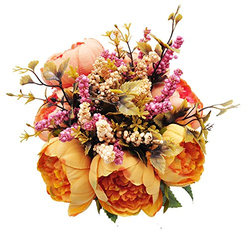 cn-Knight Artificial Silk Peony Bouquet 7PCS Flowers Per Brunch,Fake Real-Touch Arrangement for Wedding Décor Arch Bridal&Bridesmaid Home Office Baby Shower Party Prom Centerpieces - Bouquet Orange Bridal