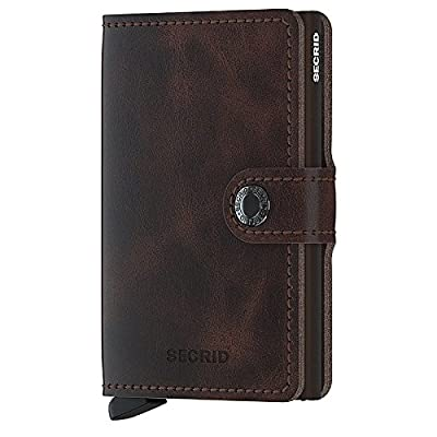 Secrid Men Mini Wallet Genuine Leather Vintage black RFID Safe Card Case max 12 cards