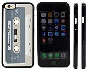 Rikki KnightTM Cassette Tape White Summer Hits Design iPhone 6 Case Cover (Black Rubber with front bumper protection) for Apple iPhone 6