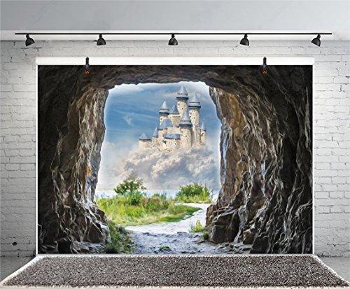 (Leyiyi 5x3ft Photography Backdrop Paradise Backdrop Merry Christmas Stone Cave Entrence Fairy Tale Castle Xanadu Spring Garden Religion Church Decor Adventure Photo Portrait Vinyl Studio Video Prop)