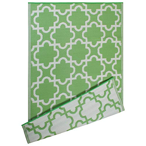 DII Moroccan Indoor/Outdoor Lightweight, Reversible, & Fade Resistant Area Rug, Use For Patio, Deck, Garage, Picnic, Beach, Camping, BBQ, Or Everyday Use - 4 x 6', Bright Green Lattice (Green Carpet Outdoor)