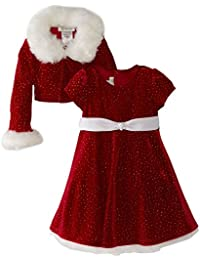 Girls Christmas Dress Velvet Sparkle Dress with Jacket