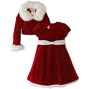 Best Epic Trends 51FWZQ9ReVL._SS300_ Bonnie Jean - Girls Christmas Dress Velvet Sparkle Dress with Jacket