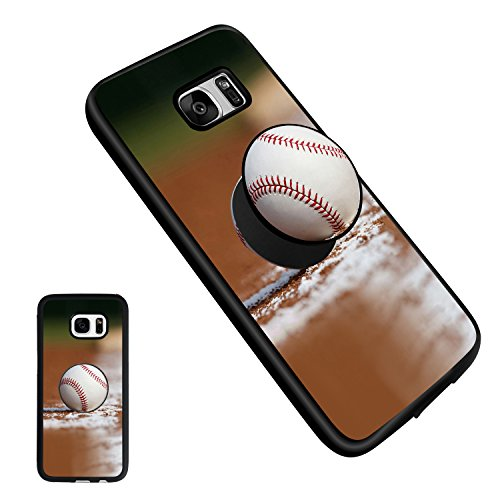 Baseball Galaxy S7 Edge Case, Soft TPU Bumper Silicone with Pop Mount Kickstand and Grip Fashion Protective Shockproof Anti-Scratch Cover Cases for Samsung Galaxy S7 Edge - Kickstand Bumper