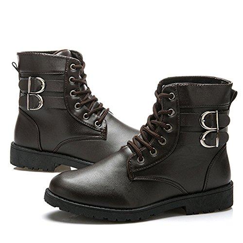 Plus Lace Ankle Casual Men's velvet Plus Up JACKSHIBO Velvet Boots Brown YSBnx7qqw