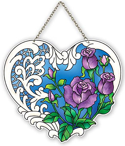 Purple Roses and Lace Heart Painted Glass Suncatcher by Joan Baker