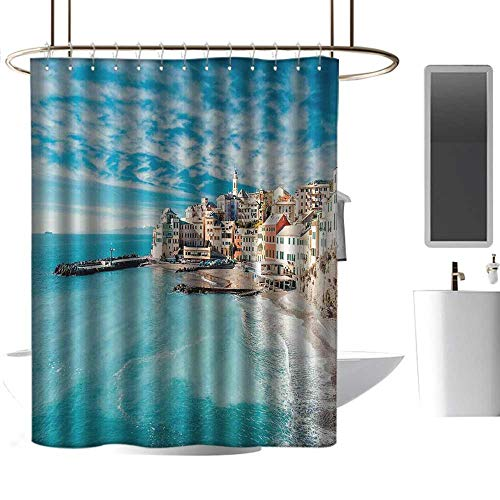 Panorama Wood Woodland Bleach - Tim1Beve Italy Waterproof Bathtub Curtain Panorama of Old Italian Fishing Village Beach in Old Province Coastal Charm Image Modern Shower Curtain W48 x L84 Turquoise