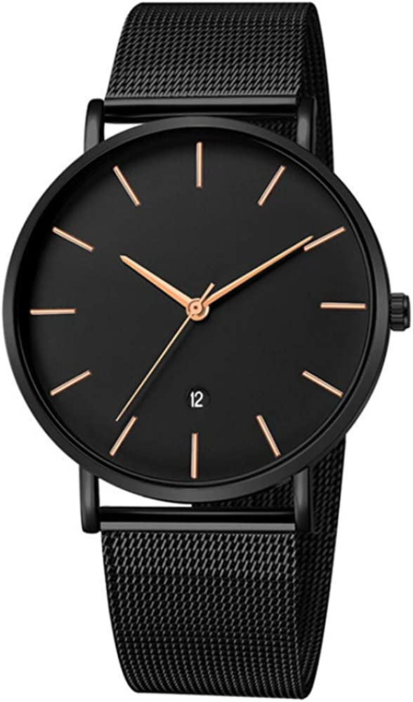 Infinito U-Reloj Impermeable para Hombres Relojes Deportivo de Cuarzo Analógico Relojes Lujoso Moda Casual Reloj Redondo Negro Fecha Resistente al Agua