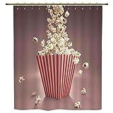 iPrint Shower Curtain,Modern,Retro Style Popcorn Art Image Home Cafe Design Kitchenware Cardboard Vintage Cinema,Light Red White,Polyester Shower Curtains Bathroom Decor Sets with Hooks