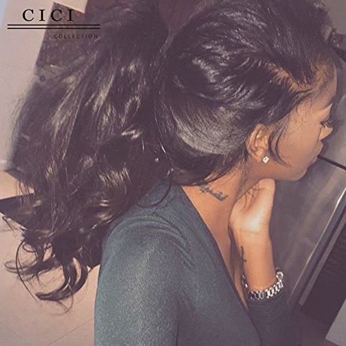Beauty : Cici Collection 360 Lace Frontal Wig Pre Plucked 180% Density Lace Front Human Hair Wigs Bleached Knots Full Lace Human Hair Wigs Black Women (14inch, Body Wave)
