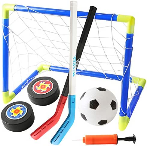 Digabi 2 in 1 Portable Soccer Game Ice Hockey Sticks Kit Football for Kids Indoor & Outdoor Garden Sport Ball Toys with 22