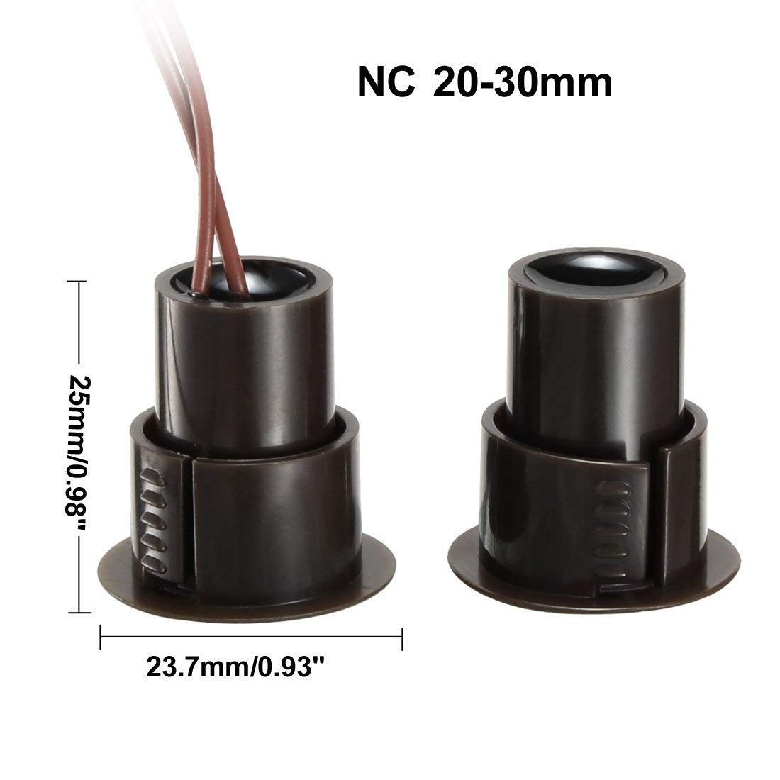 sourcingmap RC-36 NC Recessed Wired Security Window Door Contact Sensor Alarm Magnetic Reed Switch Brown