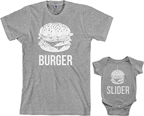 Threadrock Burger & Slider Infant Bodysuit & Men's T-Shirt Matching Set (Baby: 6M, Sport Gray|Men's: XL, Sport Gray)]()