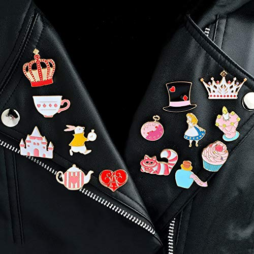 14Pcs//Set Alices Adventures in Wonderland Brooches Brooch Pin Badge Emblem Corsage Collar Shirt Bag Cap Jacket Jewelry Gift for Kids Girls