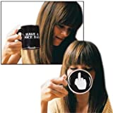 Oliasports Have A Nice Day Coffee Mug Middle Finger Funny Cup for Milk Juice or Tea, Black