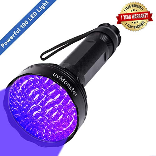 - UV Blacklight Flashlight, Super Bright 100 LED 395nm Pet Dog Cat Urine Detector light Flashlight for Pet Urine Stains, UV Black light Flashlight for Bed Bugs, Scorpions, Home&Hotel (1)