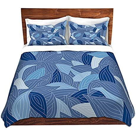 DiaNoche Designs Microfiber Duvet Covers Julia Grifol Blue Leaves Navy