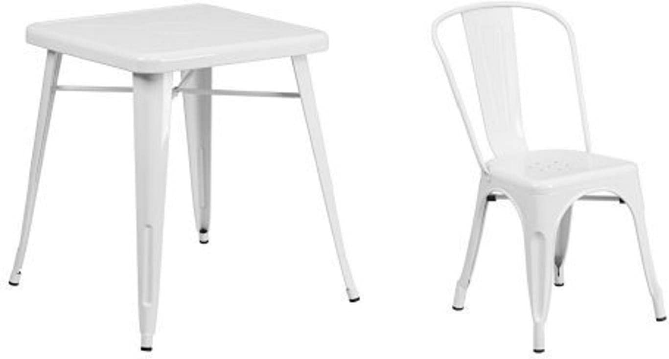 Flash Furniture 23.75'' Square White Metal Indoor-Outdoor Table Set with 2 Stack Chairs
