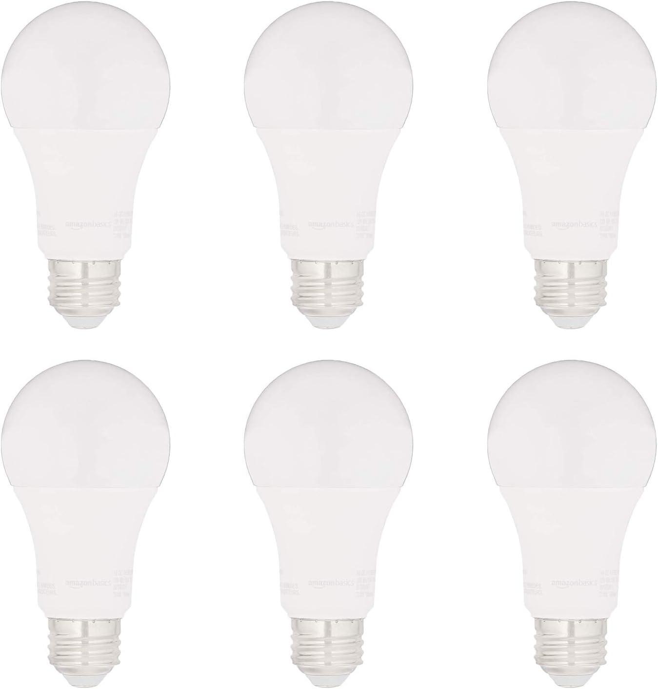 AmazonBasics 75W Equivalent, Soft White, Non-Dimmable, 15,000 Hour Lifetime, CEC Compliant, A19 LED Light Bulbs | 6-Pack