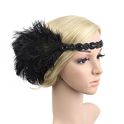 1920s Feather Flapper Headpiece Roaring Beaded Gatsby Peacock Headband Accessories Costume Adult Women (Flapper Wigs And Accessories)