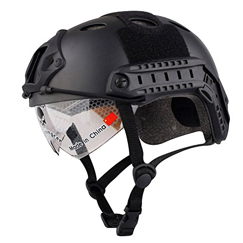 Annong Airsoft SWAT Tactical Helmet Combat Fast PJ Helmet with Protective Goggles (Black)