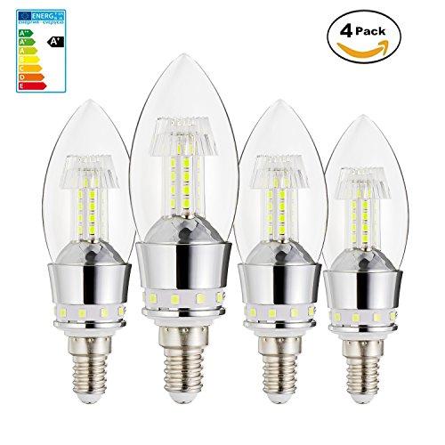 MDee 8W E12 Candelabra Light Bulbs, Incandescent 80 Watt Equivalent, Bright White 6000K, 800 Lumens ,4 Packs