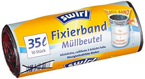 Swirl 4er Pack Müllbeutel mit Fixierband, 35 Liter, 10 Stück pro Rolle, Grau
