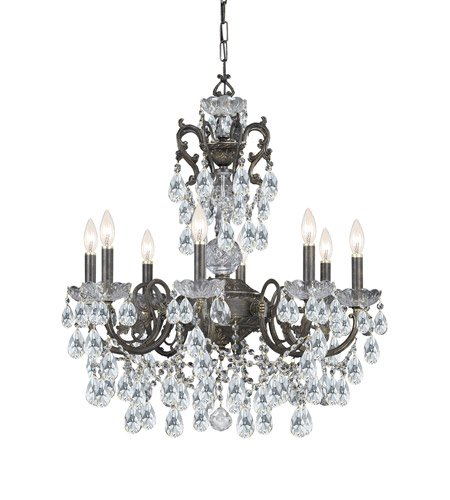 Chandeliers 8 Light with English Bronze Clear Swarovski Strass Clear Crystal Wrought Iron 26 inch 480 Watts - World of Lighting ()