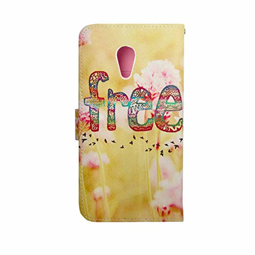 MOONCASE Case for Motorola Moto G 2. Generation Premium PU Leather Flip Wallet Style and Kickstand [Free Pattern] Design TPU Case Cover