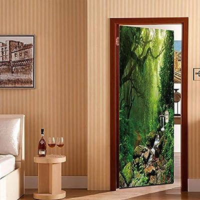 Etiqueta De La Puerta 3D,Adhesivo De Pared Presupuesto Plantar Bosques Montañas Brumosas Puerta Pegatina Impermeable De Pvc Adhesivos Arte Del Paisaje Natural En El Aula Salón Dormitorio Deco: Amazon.es: Hogar
