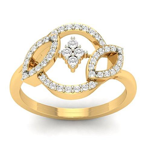 Or jaune 18K 0,31CT TW Round-cut-diamond (IJ   SI) en diamant