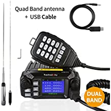 Radioddity DB25 Pro Dual Band Quad-standby Mini Mobile Car Truck Radio, VHF UHF 144/440 MHz, 25W Vehicle Transceiver with Cable & CD + 50W High Gain Quad Band Antenna