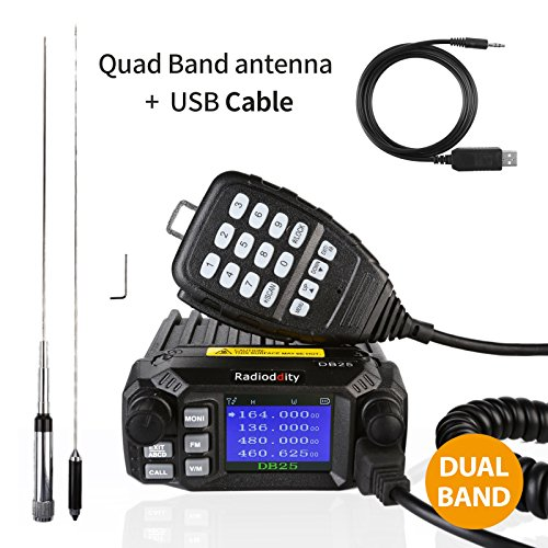 Radioddity DB25 Pro Dual Band Quad-standby Mini Mobile Car Truck Radio, VHF UHF 144/440 MHz, 25W Vehicle Transceiver with Cable & CD + 50W High Gain Quad Band Antenna (Vhf Base Station Antenna)