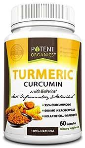 Potent Organics Turmeric Curcumin, 600mg Premium Curcumin, 60 Vegetarian Capsules