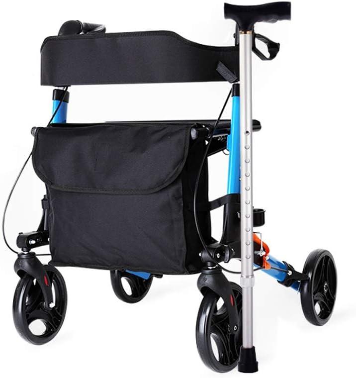 TF Walker, Plegable Walker Balanceo De La Tercera Edad, Walker Andador con Asiento Compacto De Viaje Y Frenos De Bloqueo,