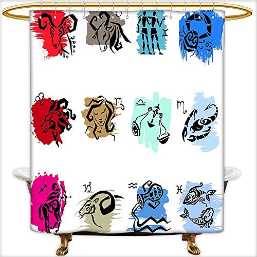 Qinyan-Home Shower Curtains Twelve Symbol of The Signs with Brushstrokes Effect Birth Calendar Horoscope for Waterproof and Anti-Mold Polyester Bathtub.W84 x H72 Inch