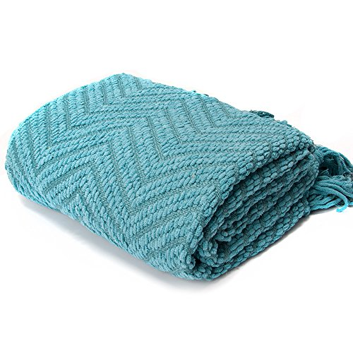 (Knit Zig-Zag Textured Woven Throw Blanket Turquoise 60