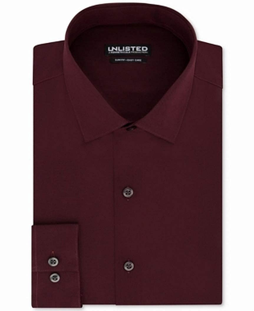 Kenneth Cole Mens Dress Shirt Slim Fit Long-Sleeve Red 15 1//2