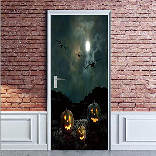 Halloween Door Wall Mural Wallpaper Stickers,Yard of an Old House at Night Majestic Moon Sky Creepy Dark Evil Face Pumpkins Decorative,Vinyl Removable 3D Decals 35.4x78.7/2 Pieces set,for Home Decor M -